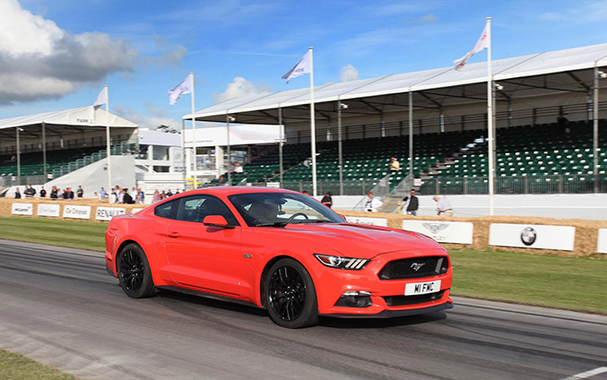 Silverstone Classic bound Ford Mustang Front Angle
