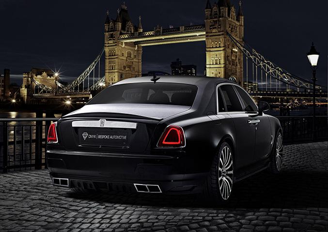 2015 Onyx Rolls-Royce Ghost San Mortiz Rear Angle